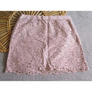 J Crew Eyelet Mini Cotton Scalloped Hem Skirt